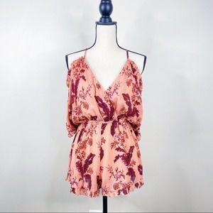 Topshop Pink Floral Print Cold Shoulder Romper